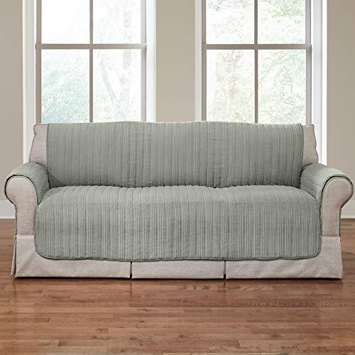 BrylaneHome Reversible Plush Stripe Extra-Long Sofa Protector, Light Sage