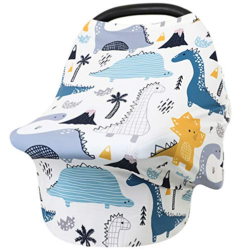 Car Seat Covers for Babies Dinosaur Nursing Cover for Breastfeeding Stretchy Soft Breathable Infant Carseat Canopy Breastfeeding Cover MultiUse High Chair Cover Baby Shower Gifts