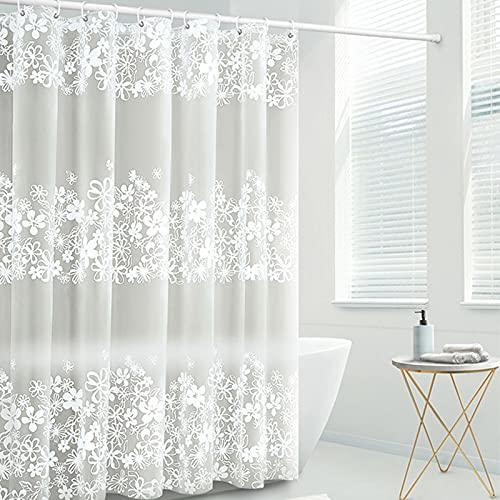 Duschvorhang Anti-Schimmel, Wasserdichter, Waschbar Anti-Bakteriell, Schnelltrocknend PEVA Duschvorhäng für Badezimmer, inklusive 12 Duschvorhängeringen, 180x200cm, weiß