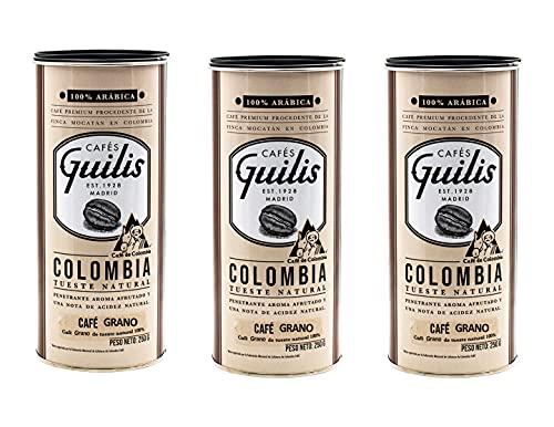 CAFES GUILIS DESDE 1928 AMANTES DEL CAFE Café Colombiano en Grano Arábica Tueste Natural Finca Mocatán - Pack 3 Latas 250 gr