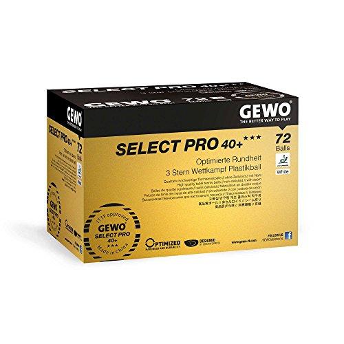 GEWO Erwachsene Ball Select Pro 40+ Tischtennisball, Weiß, 72er