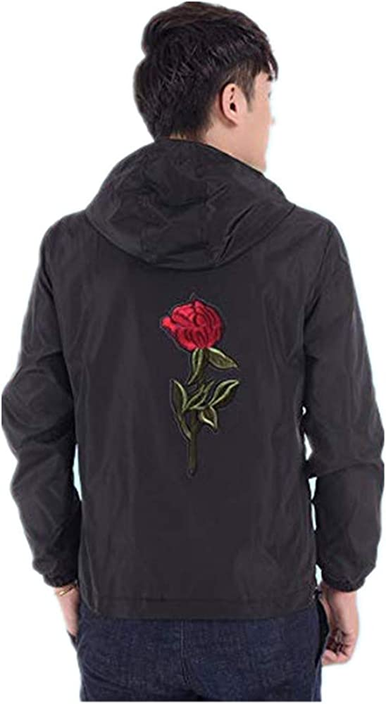 iYYVV Mens Thin Embroidery Rose Casual Sports Zipper Solid Color Coat Hoodie Jacket