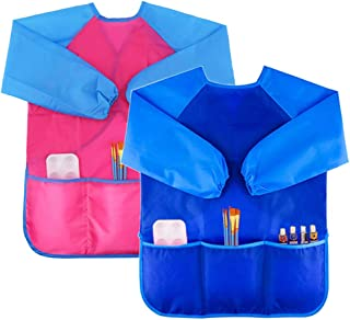 Blue Crethin Kids Art Smock Waterproof Painting Aprons for Kids Children Toddler Smocks for Craft 3-8 Years Child Artist Aprons with 3 Pockets Long Sleeves