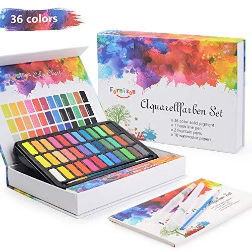 FORMIZON Acuarelas Profesionales, Set de Acuarelas de 36 Colores de Agua, Incluye 1 Pinceles de Agua, 2 Plumas de Gancho de Línea y 10 Hojas de Papel para Principiantes Principiantes y Aficionados