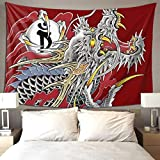 QSMX Tapestry Hippie Art Yakuza Dragon Tattoo Tapestry Wall Hanging Home Decor Extra Large tablecloths 70x60 inches for Bedroom Living Room Dorm Room