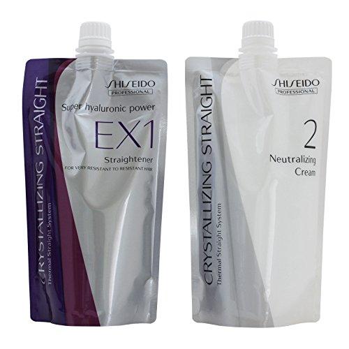 2 Set Hair Rebonding Shiseido Professional Crystallizing Hair Straightener (EX1) + Neutralizing Emulsion (2) for very resistant hair