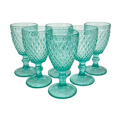 Homevibes Juego Set de 6 Copas De Vino, Copas de Vino con Relieve, Diseño Retro, Cristaleria De Calidad, Capacidad 330ml, Muy Resistentes (Celeste)