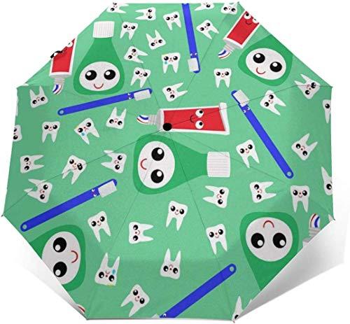 NA Leuke Tanden Tandpasta Groen Reizen Zon & Regen Winddichte Paraplu, Lichtgewicht Draagbare Compacte Reizen Auto Vouwparaplu Outdoor Paraplu's voor Vrouwen Mannen Kinderen