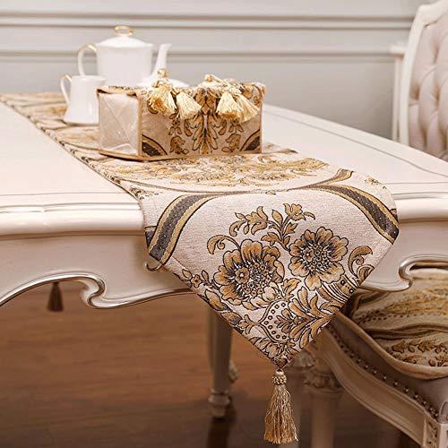 Tischläufer Chemischer Faser-Jacquard-Tischläufer Bestickt Muster Und Handgemachte Quasten Europäische Stofftischdecken Als Dekorativer Tisch Hochzeit Partei Bett Handtuch Verwendet Werden AAAA++
