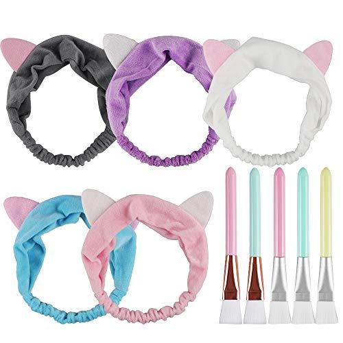 Aipaide 5 Stück Weiche Gesichtsmaske Pinsel Kosmetik Pinsel + 5 Stück Stirnband mit Katze Ohr,Werkzeug Set für Gesichtsmaske und Augenmaske,Spa DIY braucht,5 Farben