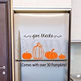"""30 pumpkin decals in Orange vinyl (assorted sizes from 1""""-8"""" tall ) and 1 """"give thanks"""" decal in brown vinyl Comes with easy to apply instructions Can be applied to most walls including textured Can be removed without damaging walls Great addition to..."""