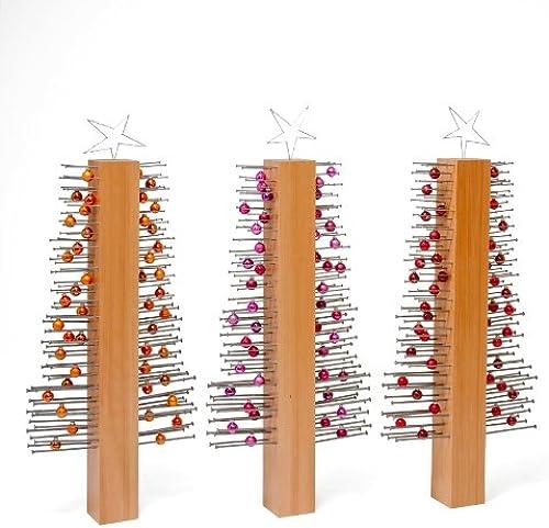 innovativer, ausgefallener Weißachtsbaum buna Buche trio modernes, trendiges Design 2014 buna trio Buche mit Farbkugeln Orange, hotRosa und rot ohne Dekorationsb er