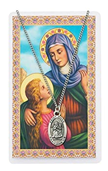 Saint Anne 7/8-inch Pewter Medal Pendant Necklace with Holy Prayer Card