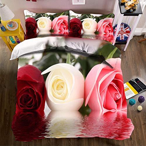 QHDXL Fundas Nórdicas Rosa Tricolor Juego de Cama Fundas Nordicas Funda Nórdica Suave con Cremallera, 1 Microfibra Funda Nórdica y 2 Fundas de Almohada, Funda Nordica(200x200cm)