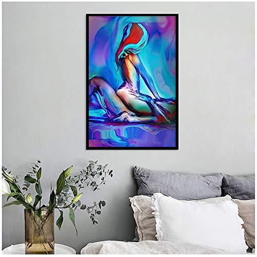 NoBrand Impression sur Toile Sexy Hommes et Femmes Chambre tête de lit décoration Toile Peinture Abstraite coloré Femme Wall Art 23,6\