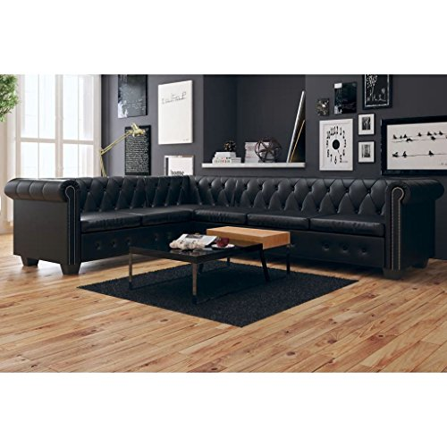 Canapé d'angle 6 places Cuir Luxe Chesterfield Confort