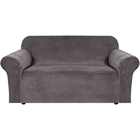 H Versailtex Stretch Velvet Armchair Cover Couch Covers 1 Cushion Chair Slipcover For Living Room Furniture Cover Crafted From Thick Comfy Rich Velour Chair 32 48 Grey Kitchen Dining