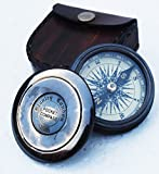 NAUTICAL CRAFT Authentic Vintage Style Brass Pocket Compass with Leather Case
