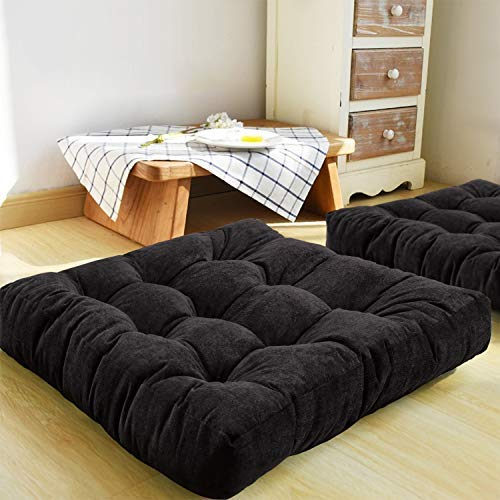Floor Pillow, Square Meditation Pillow for Seating on Floor Solid Thick Tufted Seat Cushion Meditation Cushion for Yoga Living Room Sofa Balcony Outdoor Home Decor Garden Party (Black,40 x 40 cm)