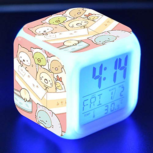 Kawaii Sumikkogurashi Anime Figure LED Alarm Clock Colorful Flash Touch Desk Light Flash Toys for Kids N33