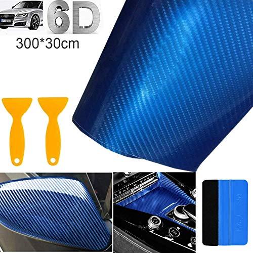 STARPIA Autofolie Carbon Folie 6D Auto Folie Selbstklebende Kohlefaser-Vinylfolie, Wasserdichter Autoaufkleber mit Kunststoffschabern für Auto Computer Motorrad Möbel (Blau, 300x30 cm)