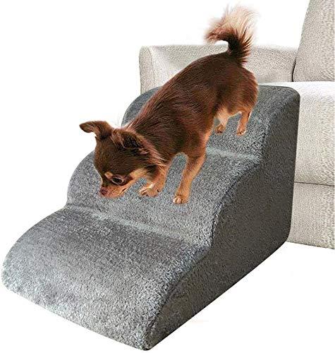 KingToKing Rampe d'escalier à 3 étages amovible lavable antidérapante pour chiens et chats (60 x 42 x 39 cm, gris)