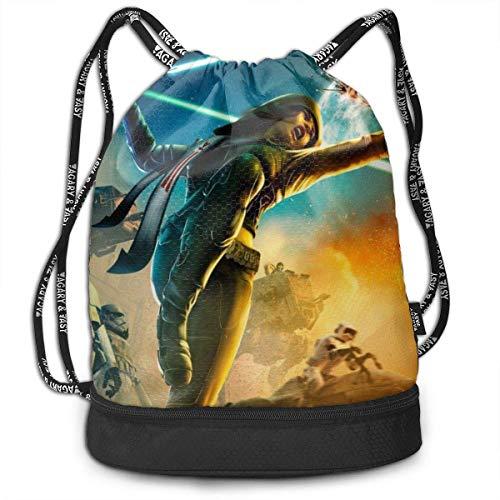 Movie Star War Drawstring Bags Multifunction Bundle Backpack Large Capacity Lightweight Simple Portable Funny Handbag,for Women Kids School Gym Travel (Polyester)