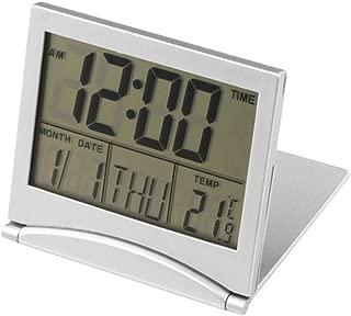 Eldori 2019 人気 拔群 超便利 実用的 超薄型折りたたみ式目覚まし時計、デジタルLCDウェザーステーション折りたたみ日デスクトップ温度旅行目覚まし時計 Digital LCD Weather Station Folding Date Desktop Temperature Travel Alarm Clock