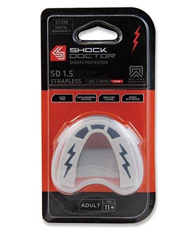 Shock Doctor SD 1.5 - Protección de boca para rugby, tamaño Adulto, color negro/ blanco