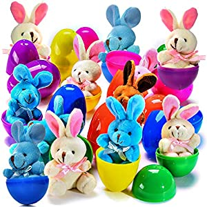 12 Plush Easter Bunnys In 3'' Eggs Each Egg Measures 3'' Tall 3 Different Color Plush Bunnys Each Bunny Measure 4'' Tall From Ear To Toe This Will be the Talk of your Easter Party