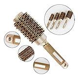 AOLVO Brosse en poils de sanglier,brosse à cheveux professionnelle,brosse à brushing ionique avec corps céramique thermique...