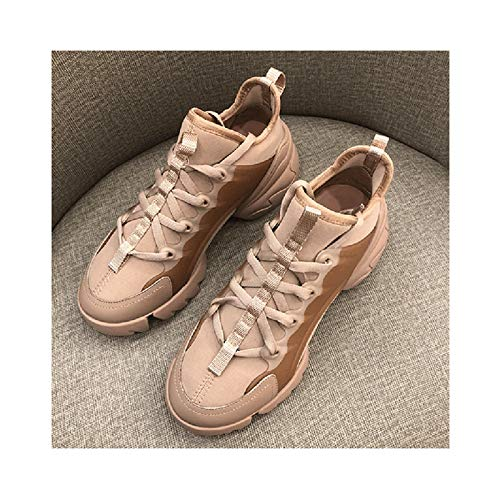 HaoLin Calzado Casual Transpirable,Zapatos para Caminar para Mujer Slip On, Ligeros, Transpirables, para Mujer, Cómodos, de Malla, para Exteriores, Gimnasio, Zapatillas,Beige-37 EU