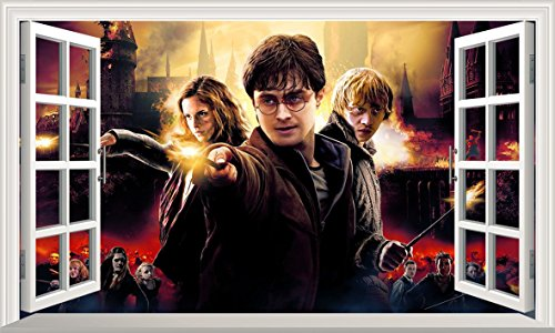 Harry Potter Hogwarts Castle 3D Magic Window VNew25 Wandaufkleber, selbstklebend, Größe 1000 mm breit x 600 mm tief (groß)