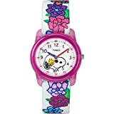 Timex Girls TW2R41700 Time Machines Peanuts Snoopy & Flowers Elastic Fabric Strap Watch