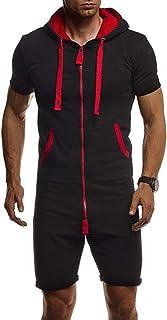 Shujin Men's Summer Jumpsuit Onesie Jogger One-Piece Jumpsuit Jogging Suit Tracksuit Slim Fit Short Jumpsuit for Sports Le...