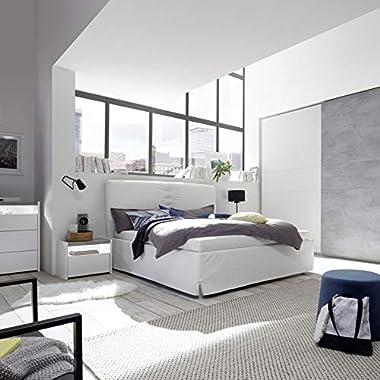 Tousmesmeubles Lit Coffre 160 * 200 cm Simili Cuir Blanc - ANIECE n°2 - L 186 x l 217 x H 124 - Neuf