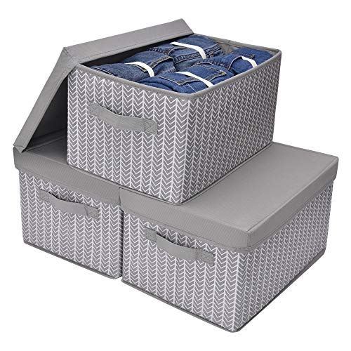 GRANNY SAYS Storage Bins with Lids and Cotton Rope Handles, Rectangle Storage Basket, Gray/White, Large, 3-Pack