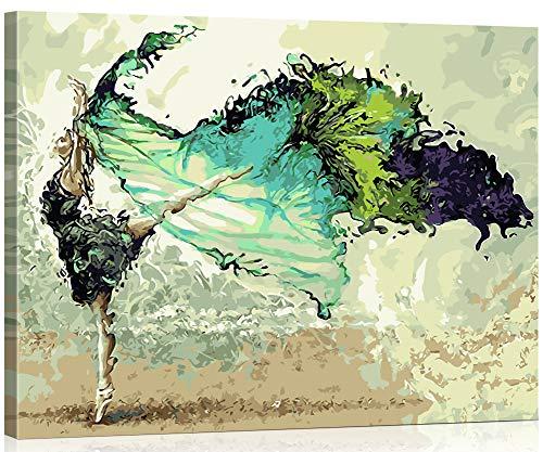 WISKALON Pintar por Numeros 40cm x 50cm Lienzo Pintura para Adultos y Niños con 3X Lupa, Acrílica Pintar y Pinceles - Bailarina Abstracta (con Marco de Madera)