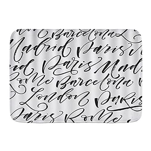 DECISAIYA Antideslizante Alfombra de baño,París Madrid Barcelona Roma Londres Modern Ink Calligraphy Art,Altamente Absorbente Alfombrilla de Piso para Dormitorio Baño Salon