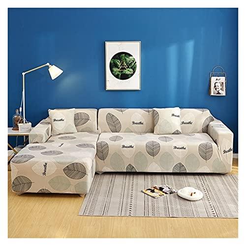 uyeoco Fundas de sofá con Estampado de Celosía Cuadrada en Forma de L, Protector de Sofá para Sala de Estar, Fundas Elásticas Antipolvo para Funda (Color : K, Size : 2 posti (145-185cm))
