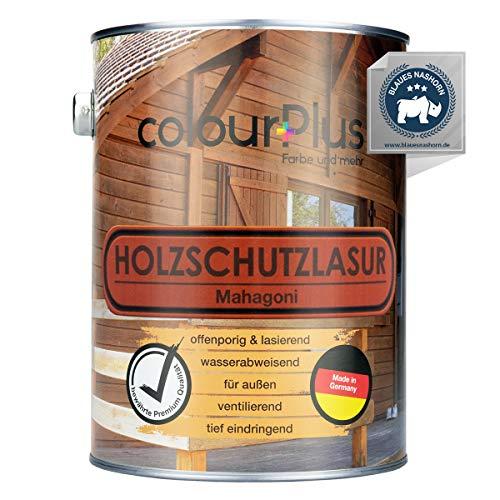 colourPlus® Barniz de alta protección (2,5L, Caoba) Barniz satinado para madera, exteriores - Base para madera - Pintura de madera para exterior - Fabricado en Alemania