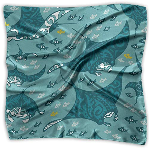 Manta Ray And Fish - Pañuelo cuadrado de satén para la cabeza de seda, bufanda para el cuello