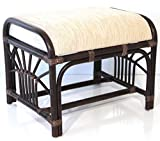 SunBear Furniture Handmade Ottoman Footstool ECO Natural Rattan Wicker with Cream Cushion, Dark Brown