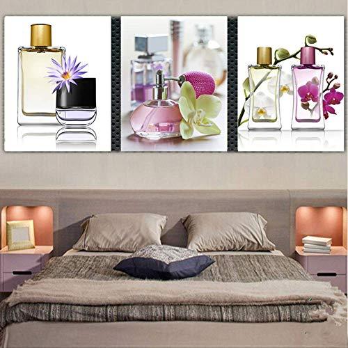HTRHUA 3 stuks canvas schilderij parfum bloemen voor slaapkamer wooncultuur wandschilderijen Pop canvas schilderkunst 50x50cm Framed