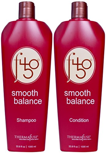 Thermafuse f450 Smooth Balance Shampoo & Conditioner (33.8 oz) Aftercare For Keratin Smoothing & Straightening Treatments. Sulfate Free, Vegan, Cruelty Free Formula Repairs Damaged Hair On Men & Women