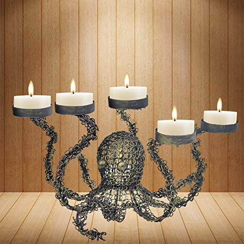 smtyle Bronze Pillar Candle Holders Octopus Candelabra for Tealight Set of 5 Decorated on Desk or Table or Fireplace