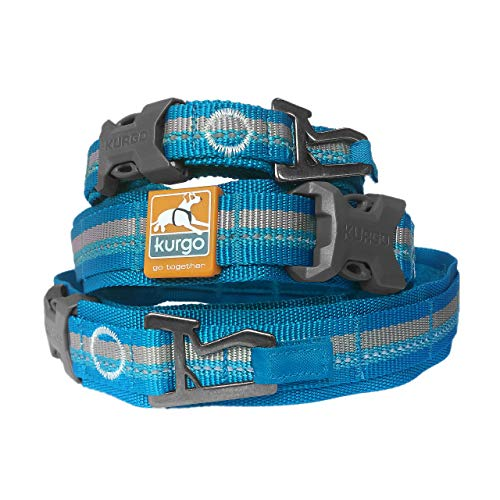 Kurgo RSG Collar & RSG Stub Leash, MOLLE Dog Collar, MOLLE Leash for Dogs, Extra Wide Collar for Dogs, Hands Free Dog Leash, Reflective, Adjustable, Blue