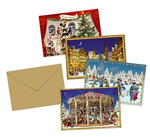 Coppenrath Viktorianische Auswahl von kleinen Adventskalender-Karten, 4Stück in verschiedenen Designs
