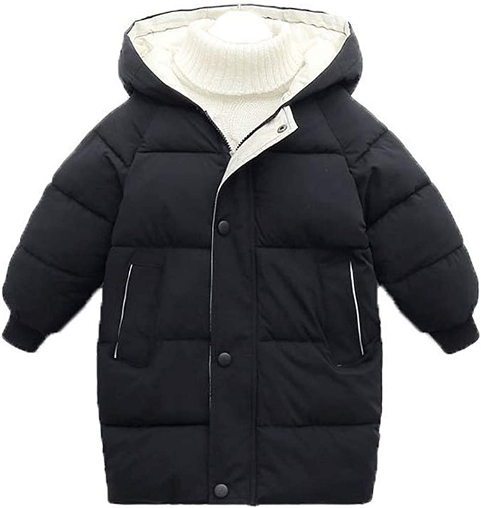 HUIGE Autumn and Winter New Children's Down Cotton-Padded Clothes Boys' Long Cotton-Padded Clothes Girls' Thick Winter Clothes Korean Baby Clothes (Black,140cm)
