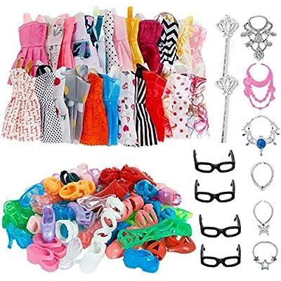 AMETUS 32 PCS Doll Accessories, 10x Mix Cute Dresses, 10x Shoes, 4X Glasses, 6X Necklaces, 2X Fairy Sticks Dress Clothes for Barbie Doll by Aprice
